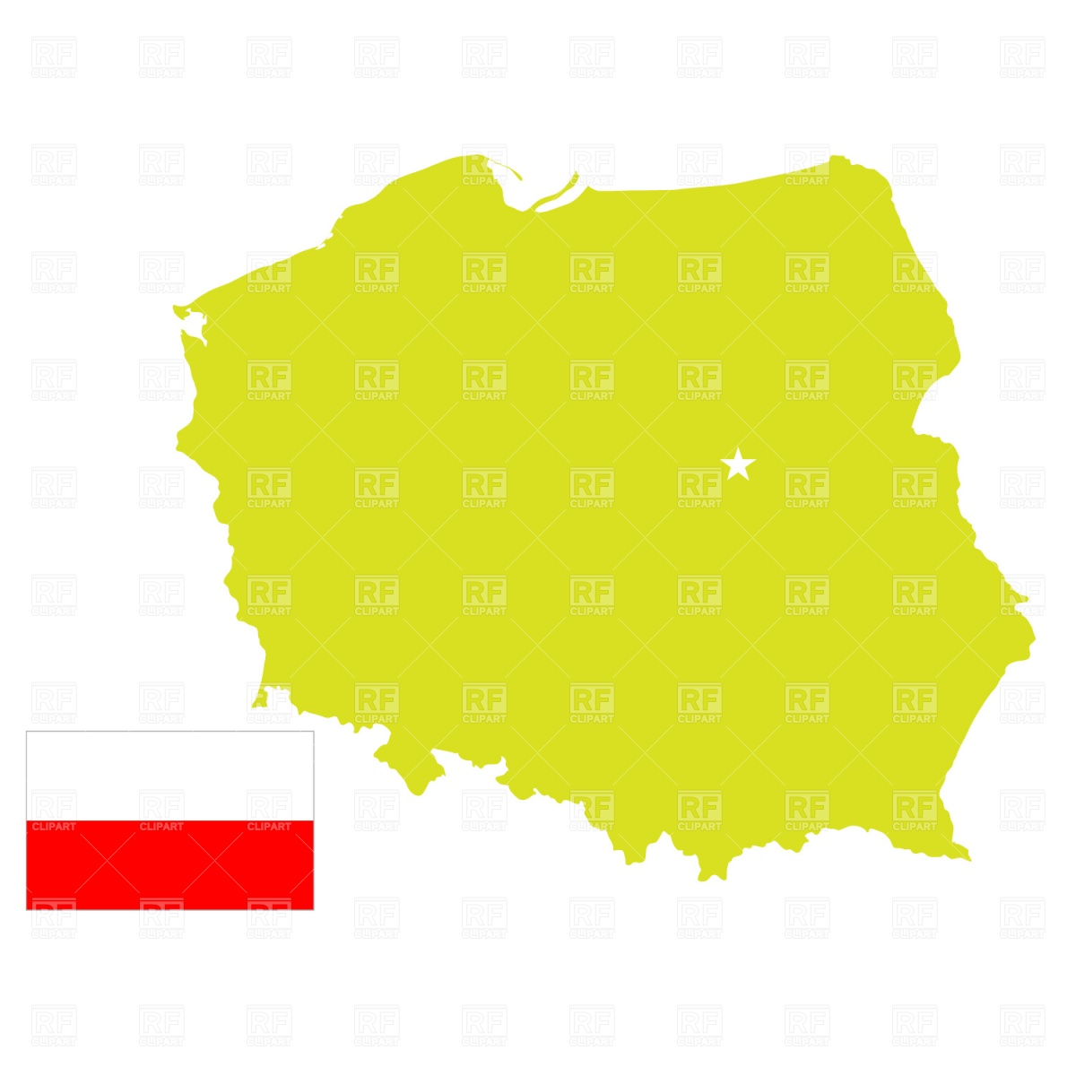 Poland Map Outline And Flag Download Royalty Free Vector Clipart  Eps