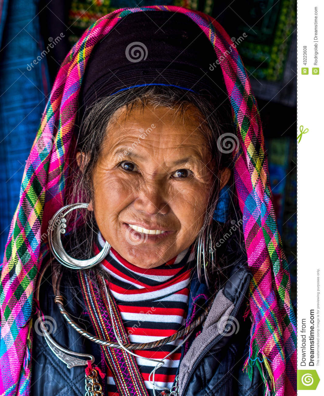 Portrait Of Black Hmong Woman Wearing Traditional Headdress And