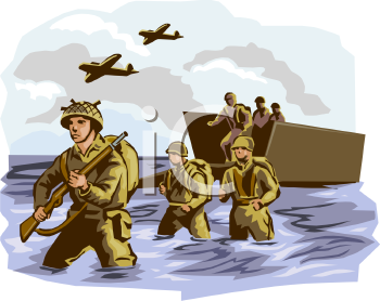 Royalty Free Clip Art Image  Soldiers Getting Off Of A Boat During War
