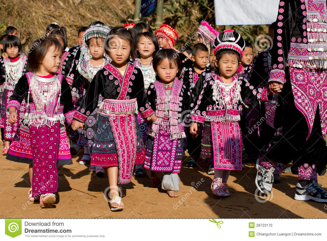 Unidentified Traditionally Dressed Hmong Hill Tribe Children In Hmong