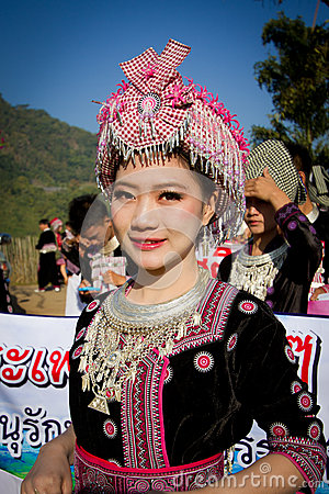 Unidentified Traditionally Dressed Hmong Hill Tribe Woman In Hmong New