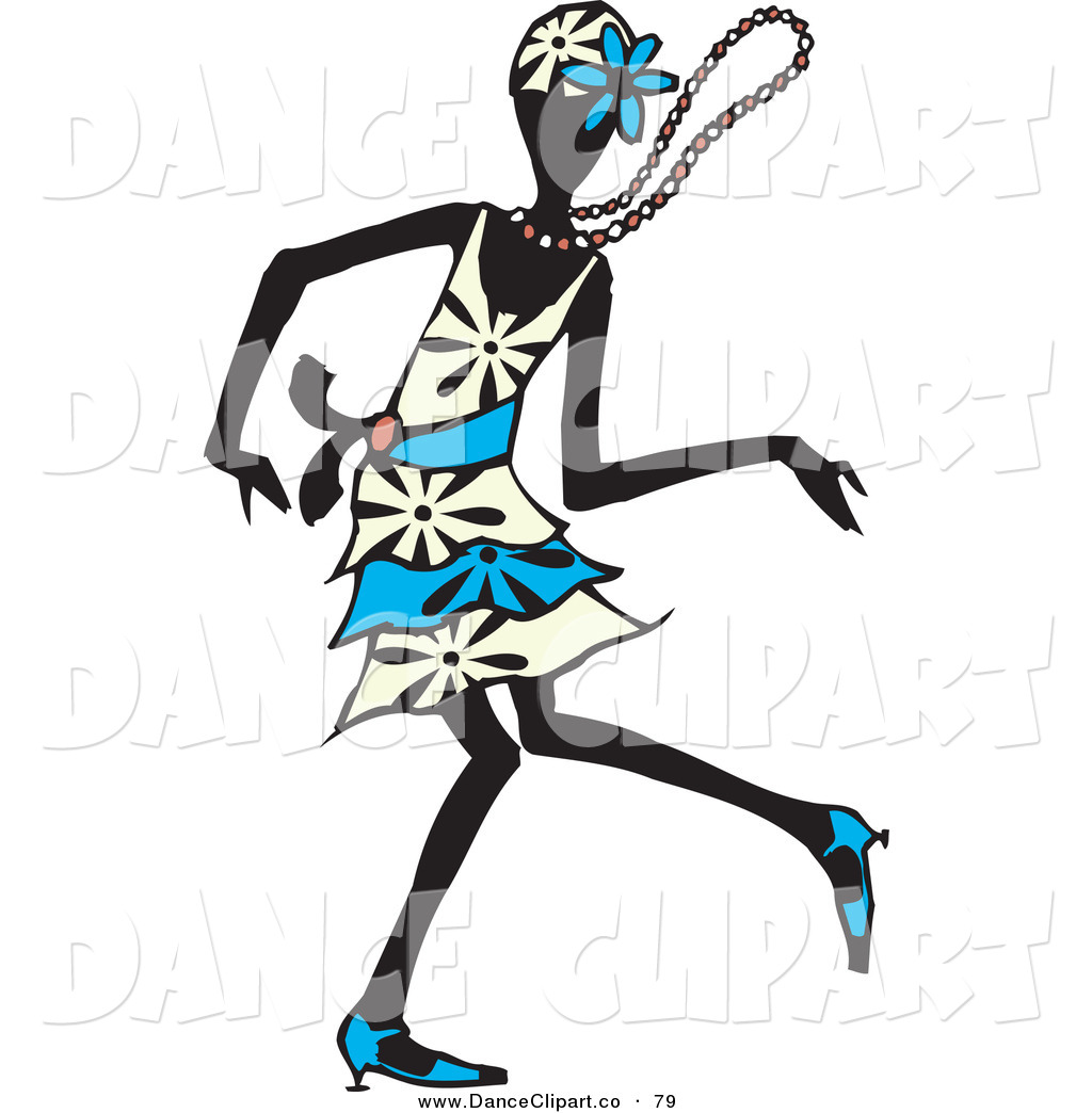 Vector Clip Art Of A Silhouetted Dancing Flapper Woman In A White And