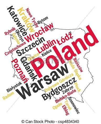 Vector Clipart Of Poland Map And Cities   Poland Map And Words Cloud