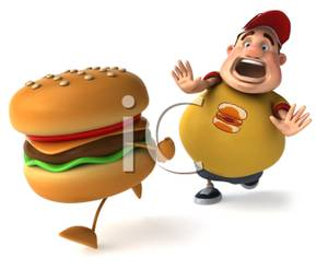 An Obese Man Running After A Hamburger   Royalty Free Clipart Picture