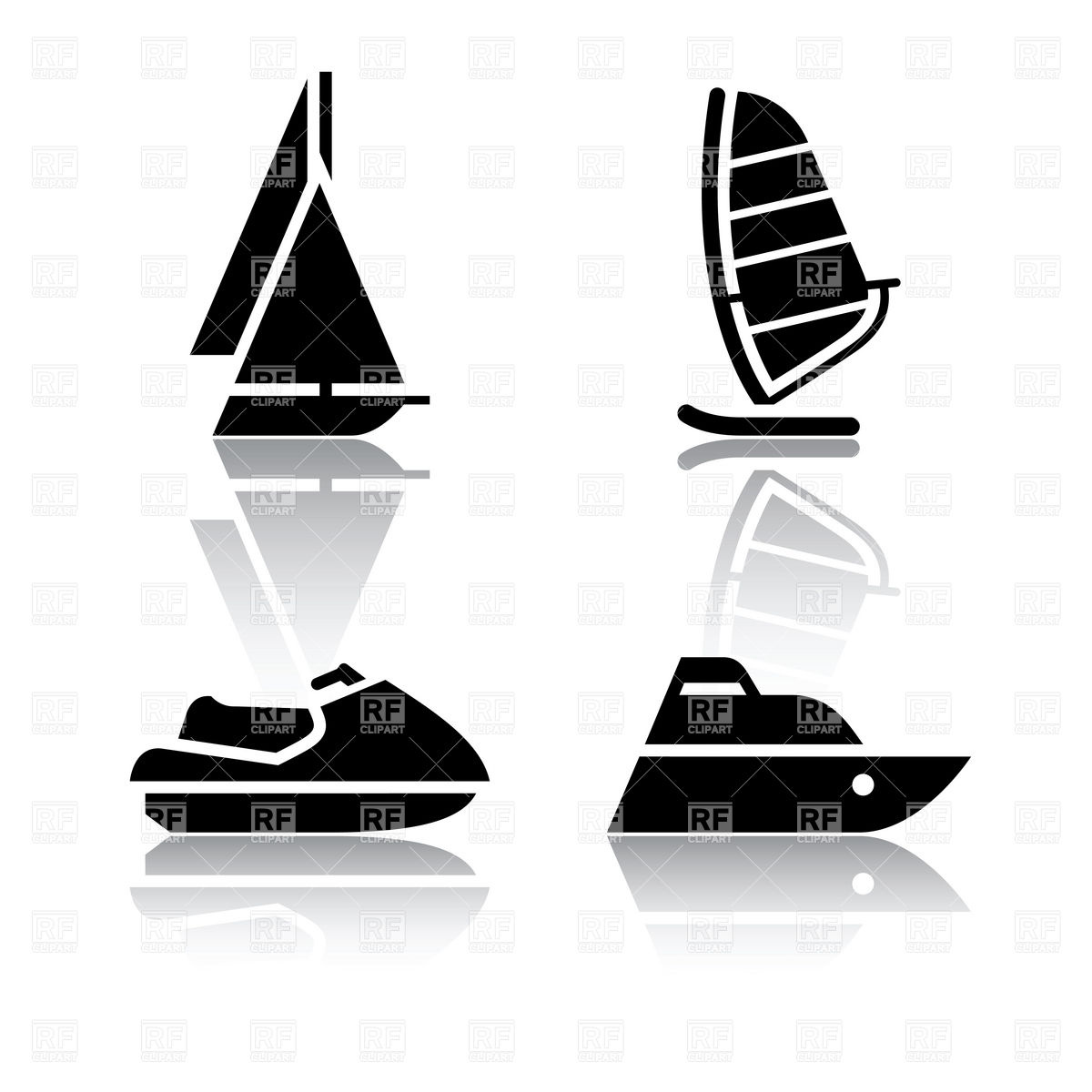 Boat Sailing Ship And Jet Ski   Water Transport Icons 18096 Icons