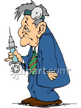 Cartoon Clipart Picture Of A Tired Looking Doctor Holding A Huge