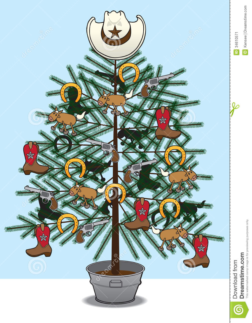 Christmas tree decorated with various western themed items for Christmas tree items list