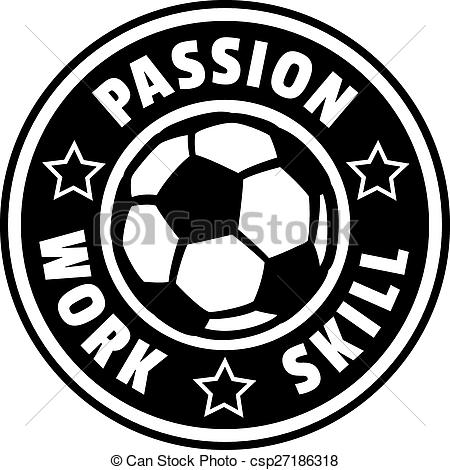 Circle Badge Design With A Soccer Ball Or Football In The Center And