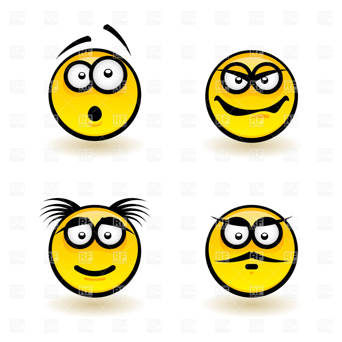 Emotions Smiley Icons Haughty Gloat And Surprised Icons And Emblems