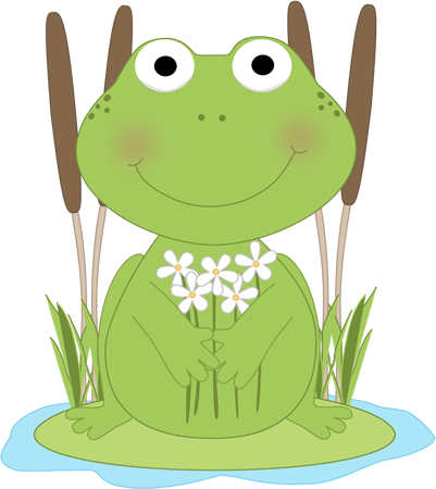 Frog Flower Pond Clip Art Image   Frog On A Lily Pad In A Pond Holding