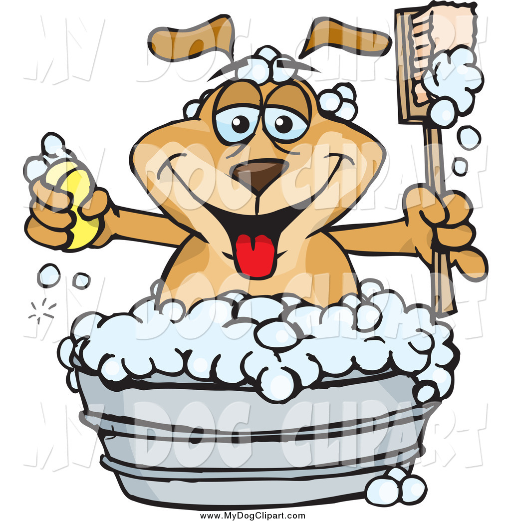 Happy Dog Holding A Handled Brush And Bar Of Soap While Bathing In A