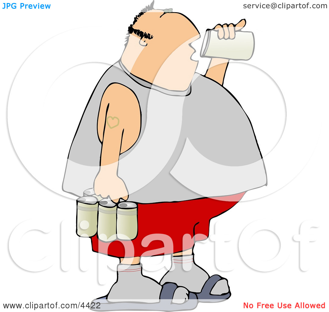 Obese Man Drinking A Can Of Beer From A Six Pack Clipart By Djart