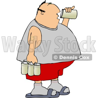 Obese Man Drinking A Can Of Beer From A Six Pack Clipart   Djart