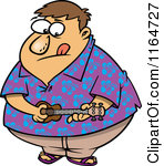 Obese Man In A Hawaiian Shirt Playing A Ukelele By Ron Leishman