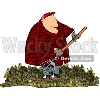 Obese Man Raking Dead Leaves From A Lawn Clipart   Dennis Cox  4695