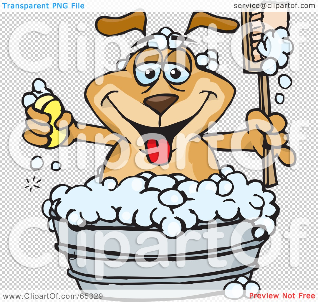 Rf  Clipart Illustration Of A Sparkey Dog Holding A Handled Brush