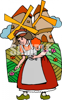 Clip Art Picture Of A Dutch Girl In A Field Of Tulips With Windmills