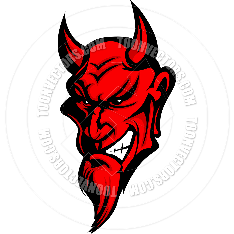 Clipart Of A Red Evil Demon Face Royalty Free Vector Illustration By
