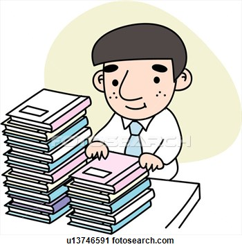 Clipart Of Heaped Stress Document Job Tired Businessman U13746591
