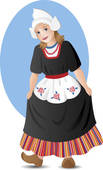 Dutch Girl In National Costume   Clipart Graphic