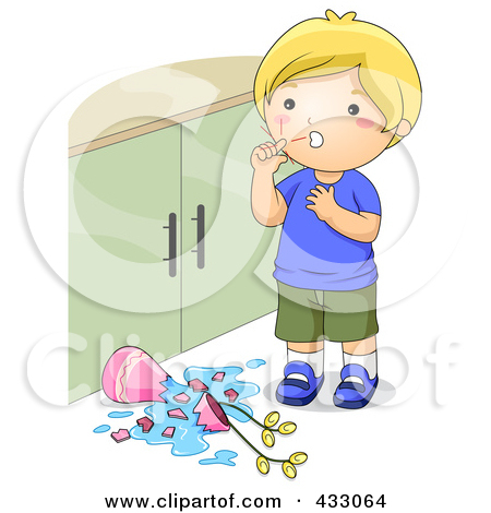 Free  Rf  Clipart Illustration Of A Boy Bandaging His Hurt Knee