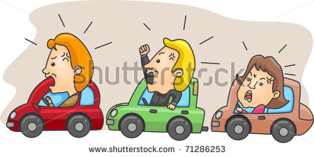 Illustration Of Angry Motorists Caught In A Traffic Jam   Stock Vector