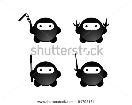 Ninja Nunchucks Clipart Four Cute Black Ninjas With Weapons    Stock