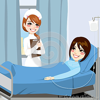 Nurse Standing On The Side Of A Bed In A Hospital Room Visiting A Sick