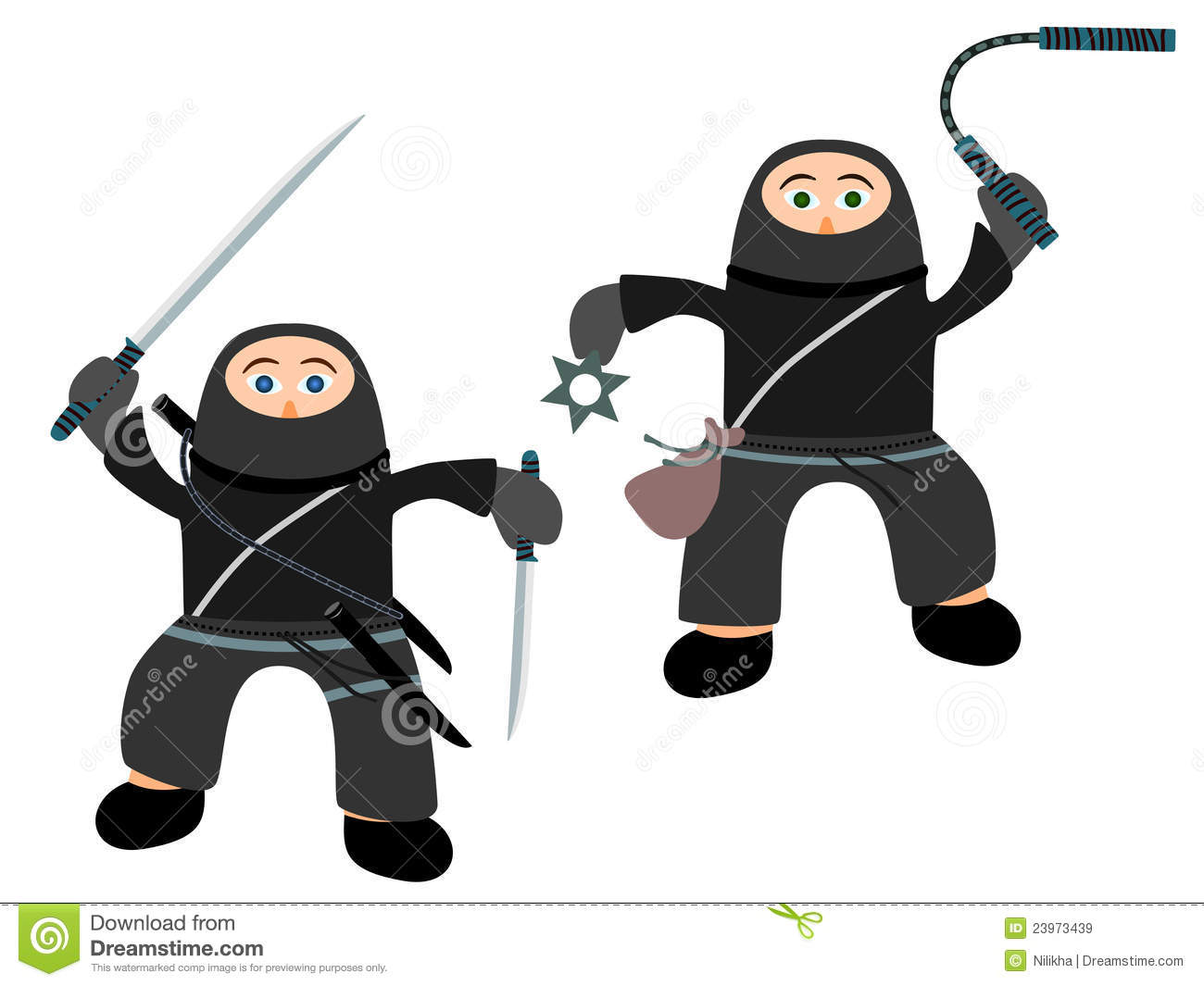 Two Cute Cartoon Ninja Fully Equipped And Ready To Battle