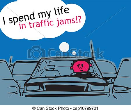 Vector   I Spend My Life In Traffic Jam    Stock Illustration Royalty