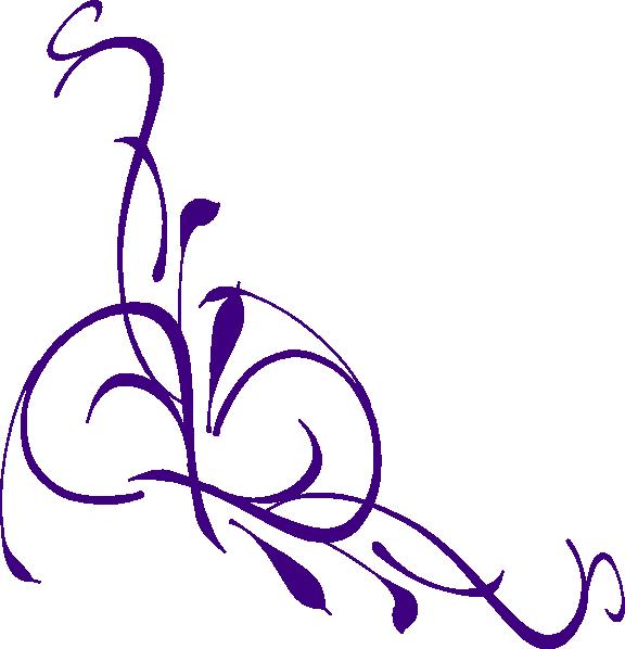 Purple Flower Corner Clipart - - 44.9KB