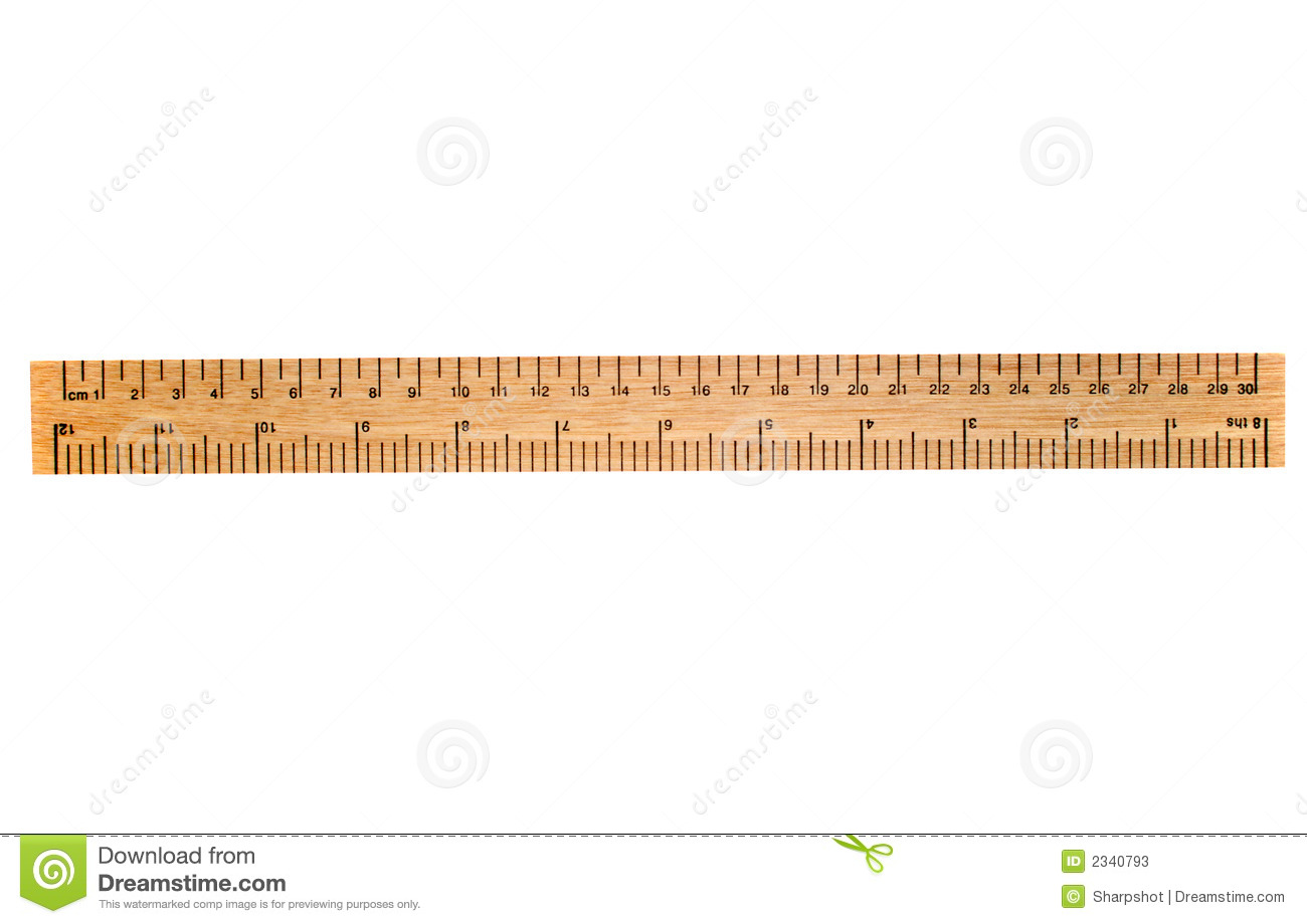 30 Cm Wooden Ruler Isolated On A White Background  Flip It Over For