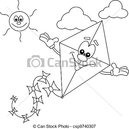Cartoon Kite Outline For Colouring In Book Csp9740307   Search Clipart
