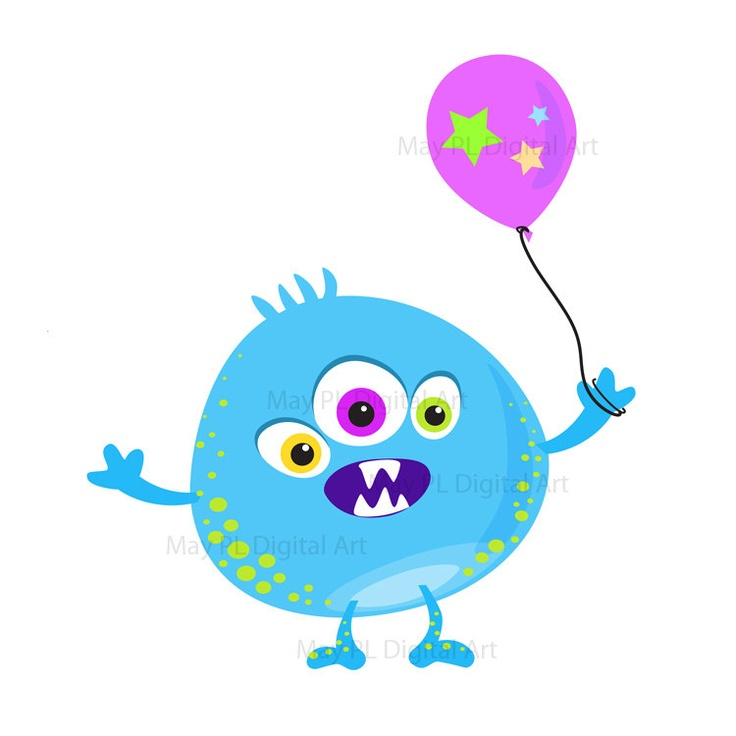 Cute Monster Clipart Kids Birthday Party Digital Little Monster Silly