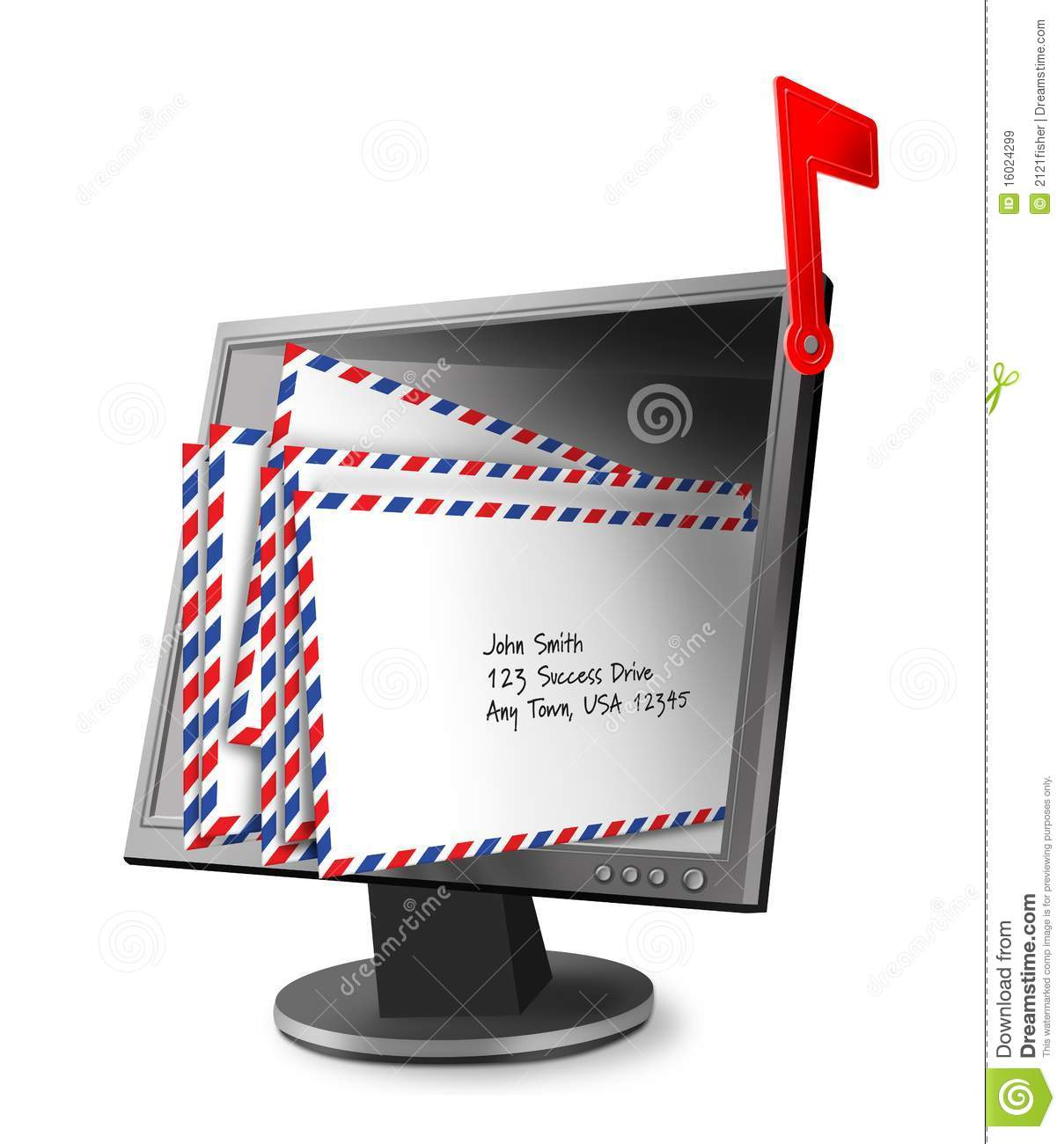 Digital Illustration Of Full Mailbox Using A Computer Monitor Filled
