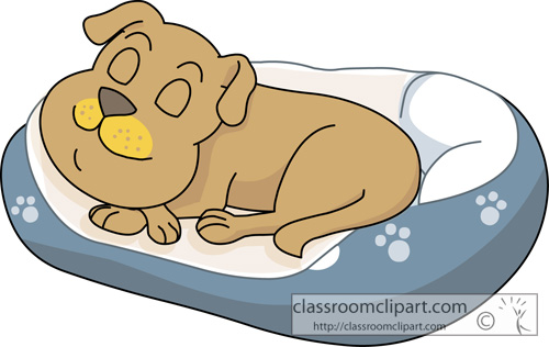 Dog Clipart   Sleeping In Dog Bed 813   Classroom Clipart