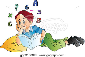 Eps Vector   Boy Studying Math Vector Illustration  Stock Clipart