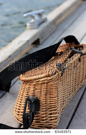 Fishing Creel And Dock Cleat   Stock Photo
