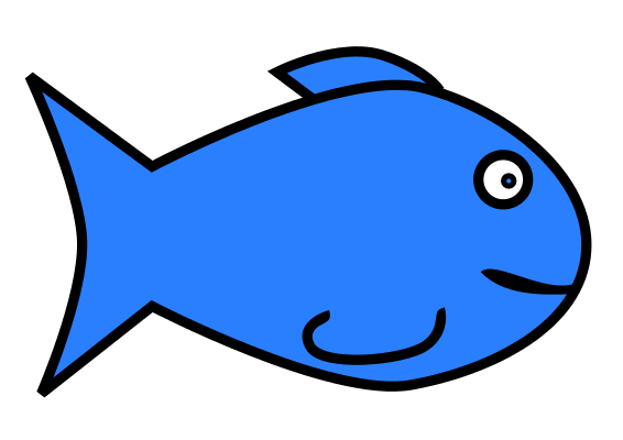 Free Simple Cartoon Blue Fish Clip Art
