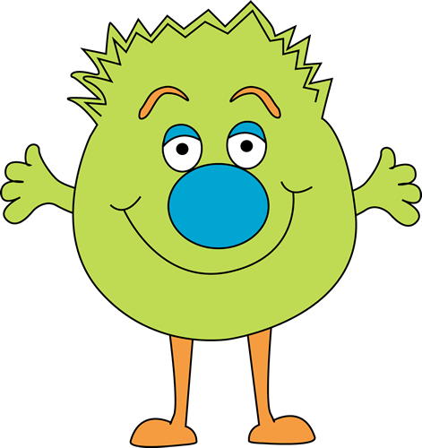 Funny Green Monster Clip Art Image   Bright Green Monster With A Fuzzy