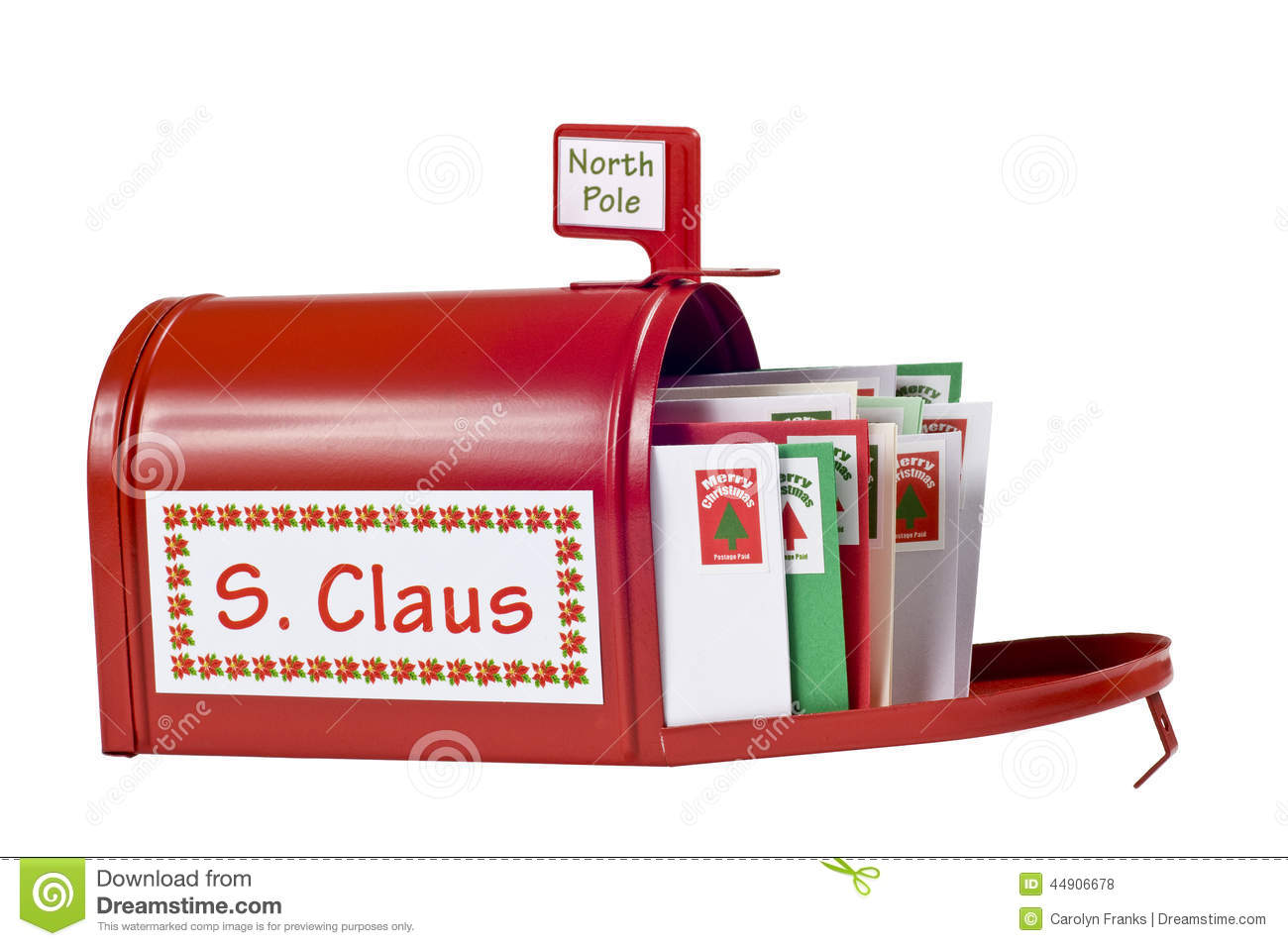 Horizontal Shot Of Santas Mailbox Full Of Letters For Him  Isolated On
