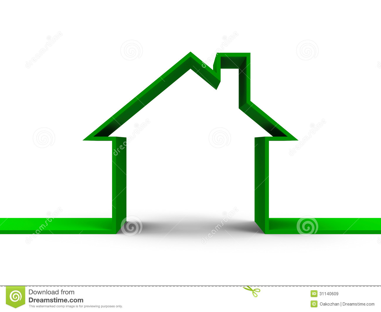 House Outline Clipart House Outline Concept Green Three Dimensional