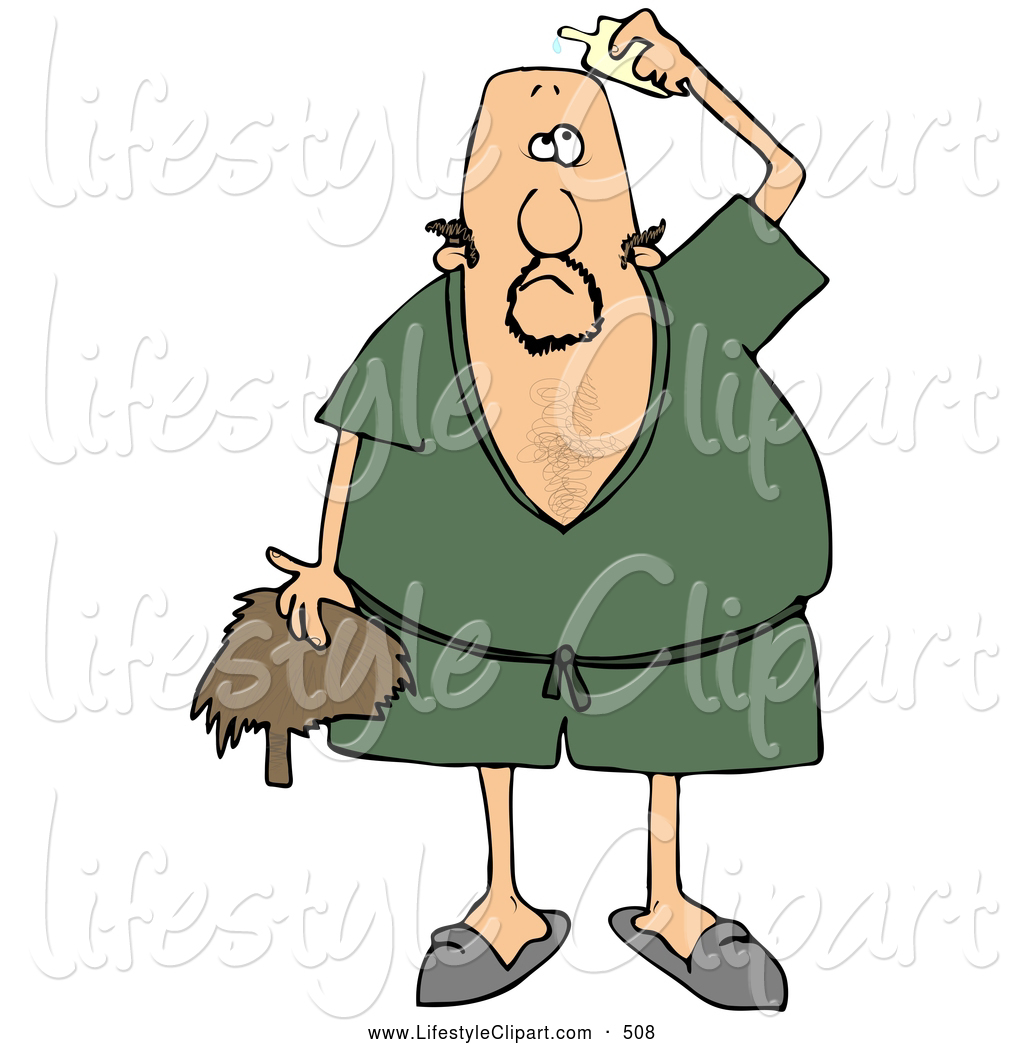 Larger Preview  Lifestyle Clipart Of A Goofy Caucasian Man Wearing A
