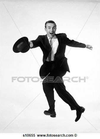 Man In Business Suit Jumping Into Air While Running Hat In Hand Goofy