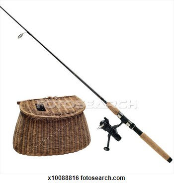 Stock Photo   Fishing Rod And Creel  Fotosearch   Search Stock Photos
