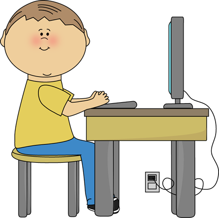 Student Using Computer Clip Art Image   Boy Student Sitting At A Table