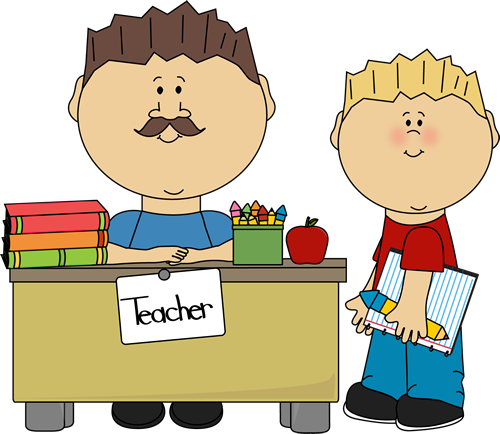 Teacher And Student Clip Art   Male Teacher And Student Vector Image