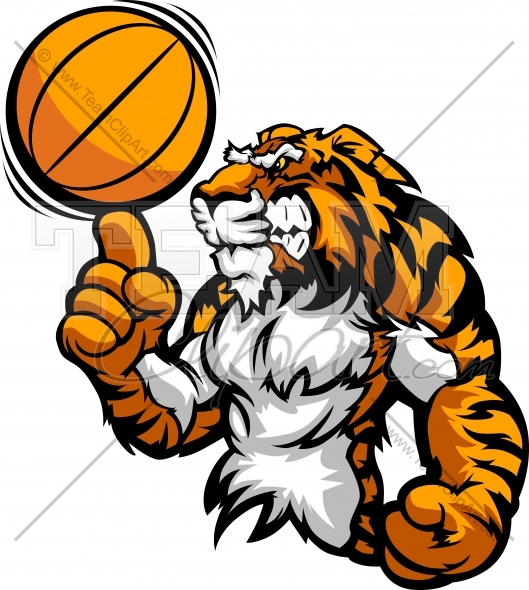 Tiger Mascot Spinning Basketball Ball On Victory Finger Clipart Image