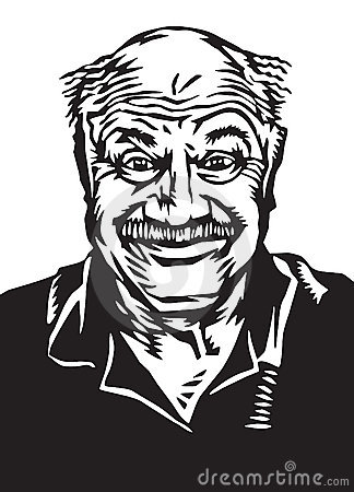 Vector Illustration Of Older Guy With A Goofy Happy Expression