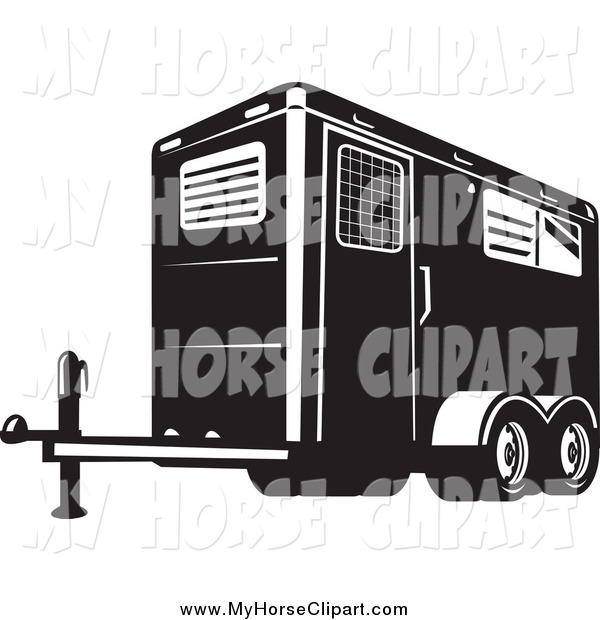 Black And White Horse Trailer Horse Clip Art Patrimonio